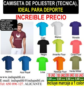 Camiseta de 100% poliester transpirable.