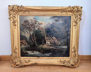 Pintura holandesa cuadro antiguo oleo paisaje