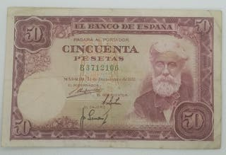 Billete 50 Pesetas 1951 Santiago Rusiñol