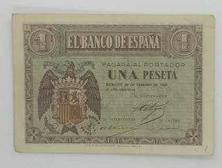 "Billete 1 Peseta 1938 Burgod ""EBC-"""