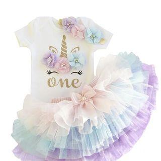 conjunto niña bebé niña nuevo unicornio cumpleaños