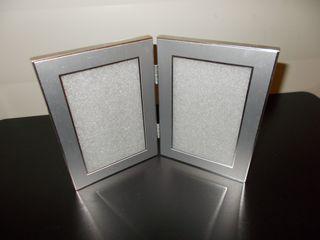 marco porta fotos doble gris plata