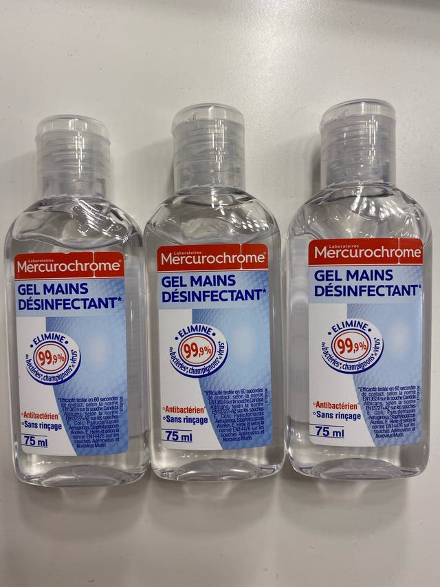 Lot de 3 gels mains Mercurochrome