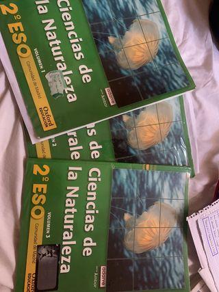 Libros tres volúmenes ciencias naturales 2 ESO