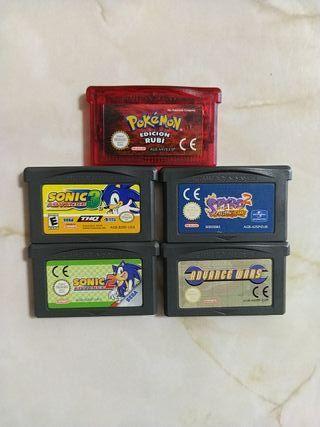 Lote 5 juegos GBA (sin caja)