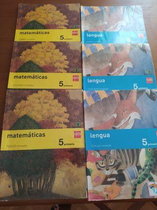 libro de matemáticas y lengua SM de 5°
