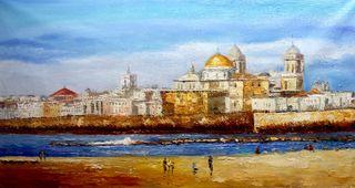 La vista a Cádiz, lienzo/cuadro al oleó