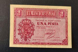 billete 1 peseta 1937 roja serie D