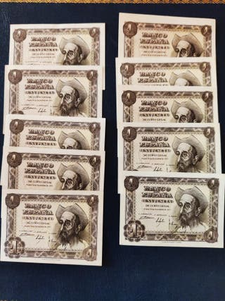 lote billetes 1 peseta 1951 sin circular