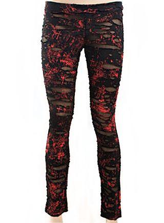 PUNK RAVE Leggings Góticos Rock Rotos Negro Rojo