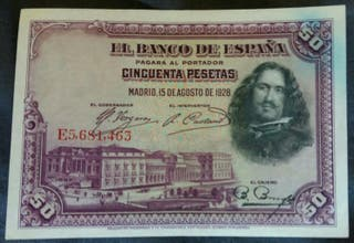 Billete 50 pesetas 15 Agosto 1928 Velazquez