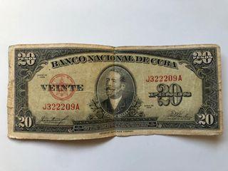 billete de 20 pesos cubano del año 1958