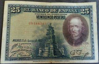 Billete 25 pesetas, 1928 - Calderón de la Barca