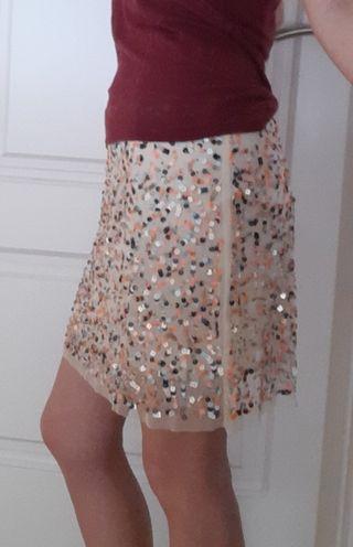 falda de lentejuelas de zara. talla M