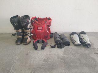 Botas de Motocross, Peto, Rodilleras, Coderas, y C