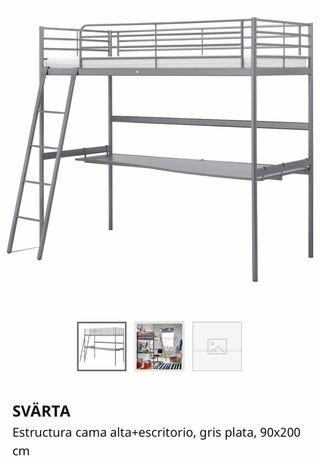 Estructura cama alta y escritorio
