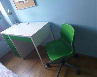 mesa escritorio juvenil micke+silla+lampara