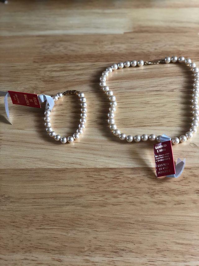 Collar y pulsera de perlas nuevo oro