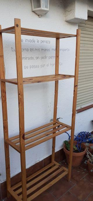 Estanteria de madera de 4 baldas 70x30x170
