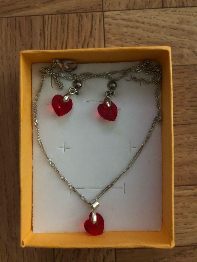 Conjunto collar y pendientes plata corazón