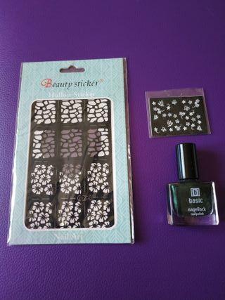pintauñas+ plantillas para uñas+ pegatinas