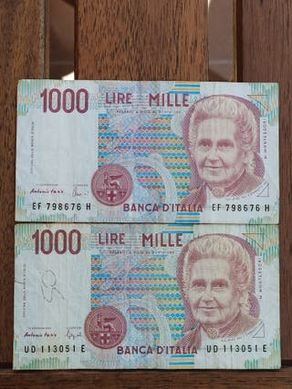Billete de 1000 liras Italia