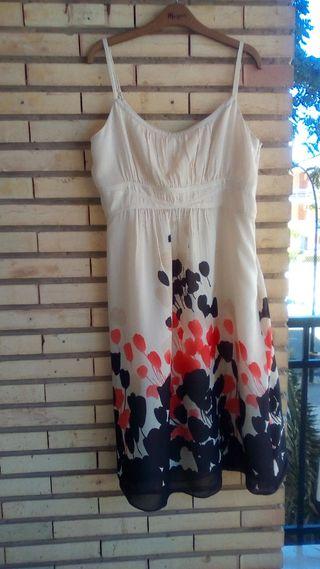 Vestido de verano, seda color crema, T 44