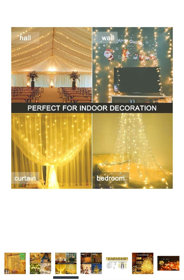 Curtain Fairy String Lights,Warm White Curtain Lig