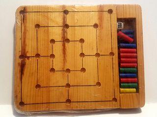 Juego de madera: Solitario y alquerque de 9