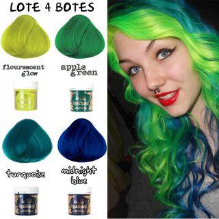 LOTE 4 Botes Tinte Pelo Fluor Verde Turquesa Azul