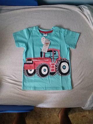 camiseta niño 5 años o 120cm verde agua manga cort