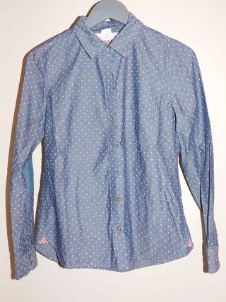 Camisa de topos azul