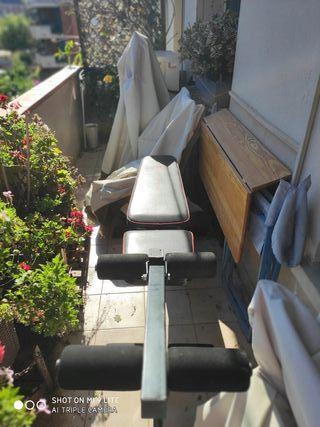 Banco para pesas inclinable reclinable y accesorio