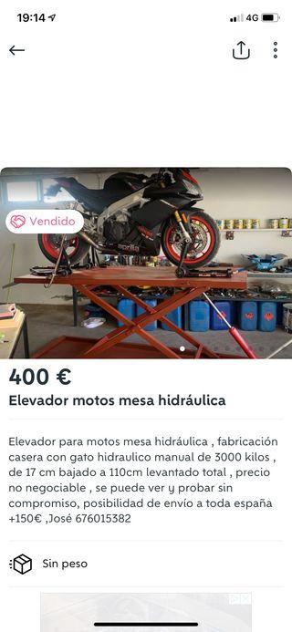 Elevador hidráulico moto