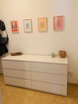 Cómoda IKEA Malm 6 cajones, blanco, 160x78 cm