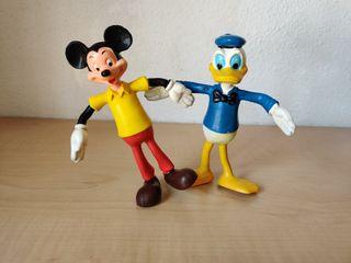 Mickey y Donald - Figuras vintage de goma flexible
