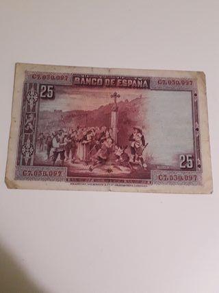 Billete antiguo 25 pesetas 1928