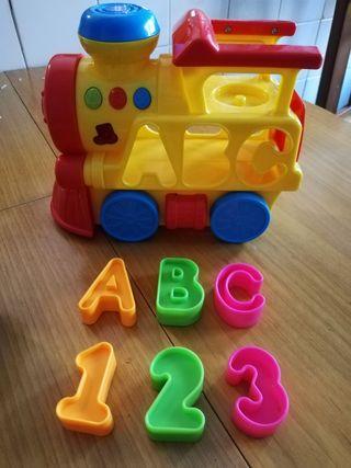 Tren infantil musical y juego vasito plastico apil