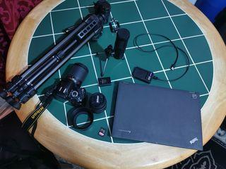 Lenovo T440P laptop + nikon D3100 camera + tripod