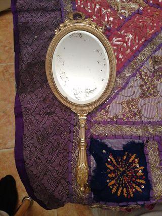espejo de mano antiguo de bronce