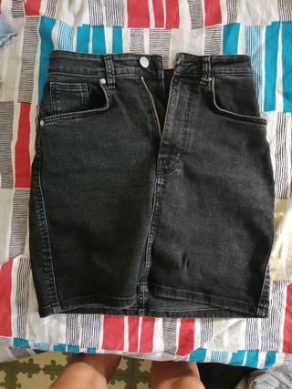 falda jeans gris zara