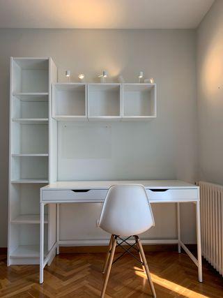 Conjunto librería, módulos pared e iluminación.