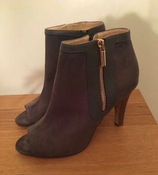 Oasis grey suede peep toe heels