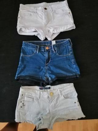 3 pantalones cortos talla 10-11