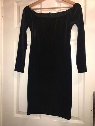 Black velvet off the shoulder dress