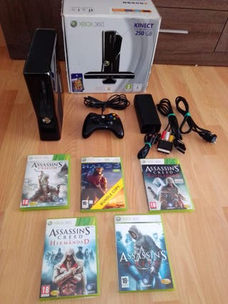 Xbox360 consola+mando+5juegos+cables+caja