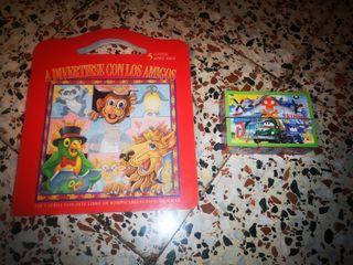 Libro infantil, y puzzle en cubos varias imágenes
