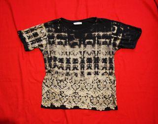 Camiseta Zara Talla M Negro Tie dye Mujer