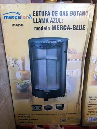 Estufa de gas butano llama azul
