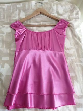 camisa de tirantes raso rosa